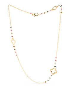 Made In India Tourmaline Quatrefoil Station Necklace