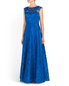 Cap Sleeve Long Lace Gown