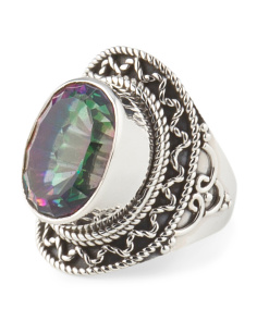 Made In India Sterling Silver And Mystic Quartz Filigree Ring