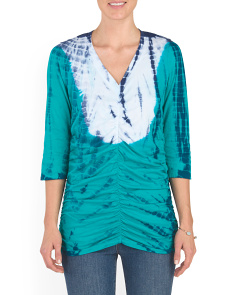 Tie Dye Ruched V Neck Top