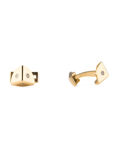 Diamond And Gold Plated Steel Cufflinks