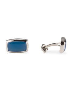 Made In France Blue Agate Palladium And Steel Cufflinks