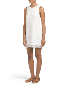 Juniors Sleeveless Lace Shift Dress