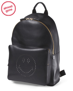 Made In Italy Leather Smiley Backpack