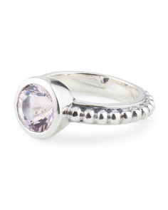 Sterling Silver Lavender Quartz Cushion Cut Ring