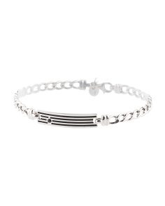 Made In Italy Men's Sterling Silver Black Id Bracelet