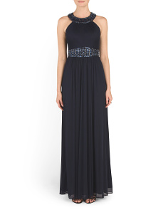 Embellished Neckline And Waist Gown
