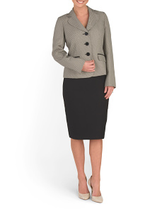 Three Button Jacquard Skirt Suit