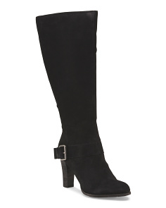 Suede High Wide Calf Boot