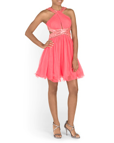 Juniors High Neck Beaded Party Dress