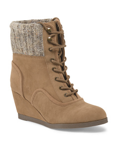 Destin Lace Up Wedge Bootie