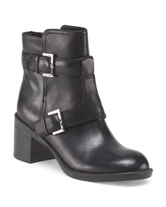 Leather Buckle Bootie
