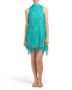 Juniors Mock Neck Eyelash Lace Dress