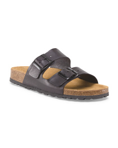 Made In Spain Leather Buckle Flat Sandal