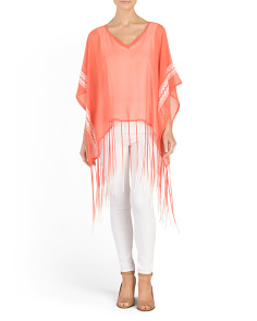 Embroidered Poncho With Fringe