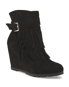 Fringed Bootie With Buckle