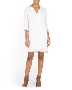 Tie Neck Gauze Dress