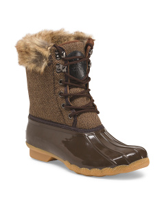 Duck Boot With Faux Fur Trim