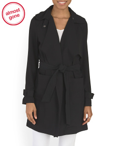 Juniors Drape Front Soft Trench Coat