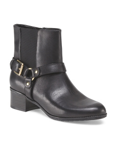 Leather Gore Side Buckle Bootie