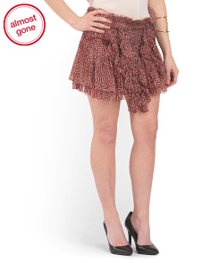Silk Gathered Ruffled Short Skirt