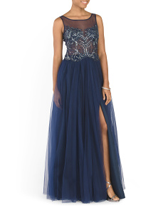 Illusion Top Beaded Gown