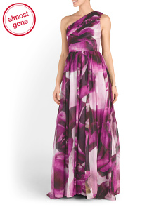 Large Petal Printed Gown