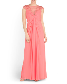 Sweetheart Neck Draped Chiffon Gown