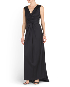 V Neck Sleeveless Long Gown
