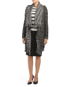 Wool Blend Frayed Edge Drape Front Cardigan