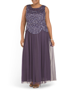 Plus Sleeveless Sequined Top Gown
