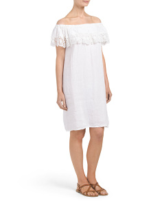 Made In Italy Linen Cold Shoulder Crochet Dress