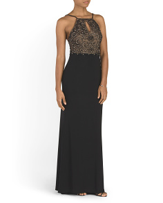 Made In USA Beaded Keyhole Gown