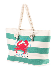 Canvas Crab Rope Tote