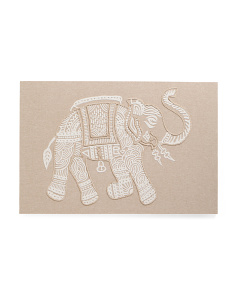 Made In India 45x30 Embroidered Elephant Wall Art