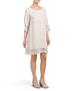 Made In Italy Linen Crochet Shift Dress