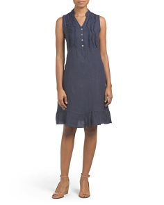 Made In Italy Linen Mini Ruffle Dress