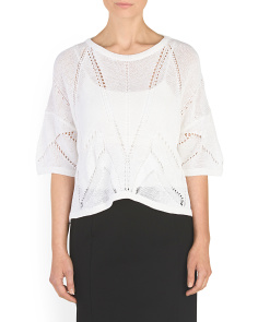 Linen Blend Fractured Lace Sweater