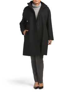 Plus Full Length Button Wool Blend Coat