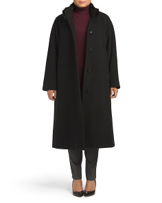 Plus Long Button Wool Coat