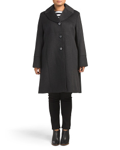 Plus Empire Waist Wool Blend Coat