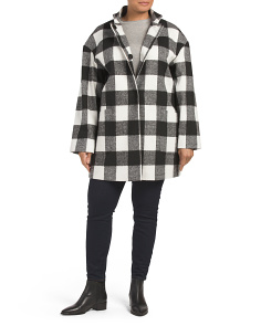 Plus Large Box Plaid Coat
