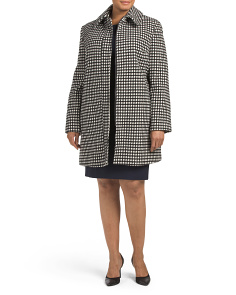 Plus Checkered Wool Coat