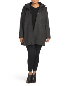 Plus Hooded Wool Coat