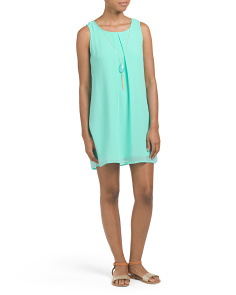 Juniors Shift Dress With Necklace
