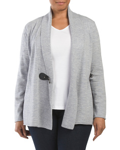 Plus Long Sleeve Merino Drape Cardigan