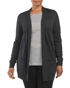 Plus Wool Drape Pocket Straight Cardigan
