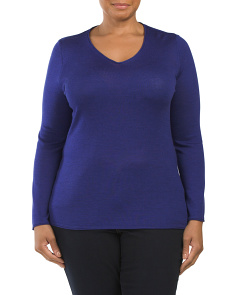 Plus V-Neck Sweater With Roll Edge