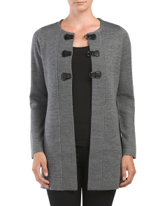 Long Sleeve Cardigan With Buckles