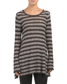 Juniors Striped Tunic Pullover Sweater